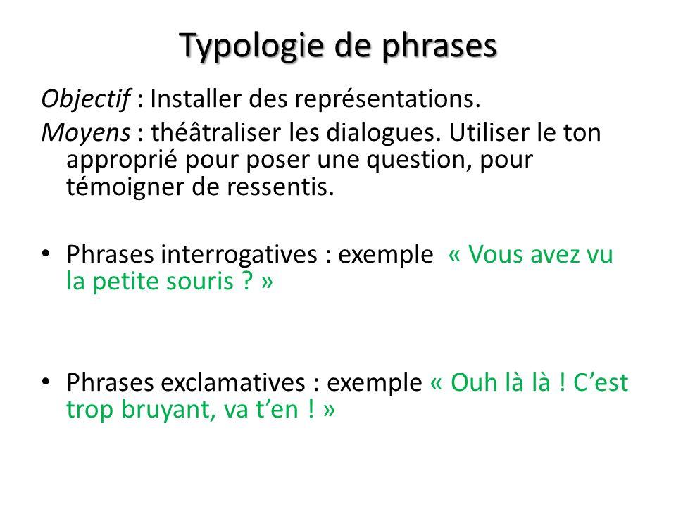 Typologie de phrases Objectif : Installer des représentations.