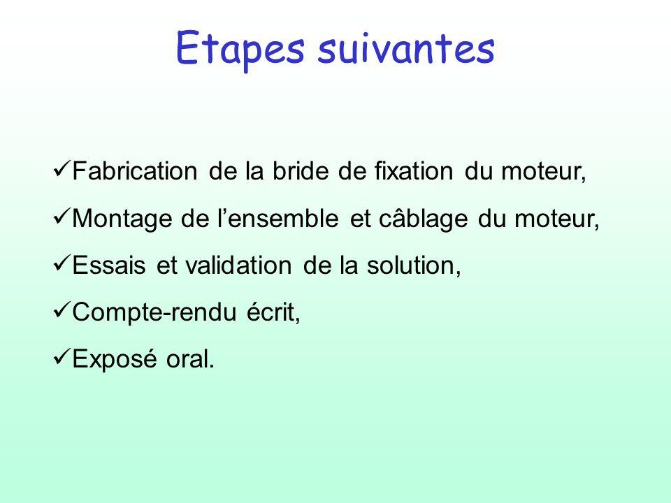 Etapes suivantes Fabrication de la bride de fixation du moteur,