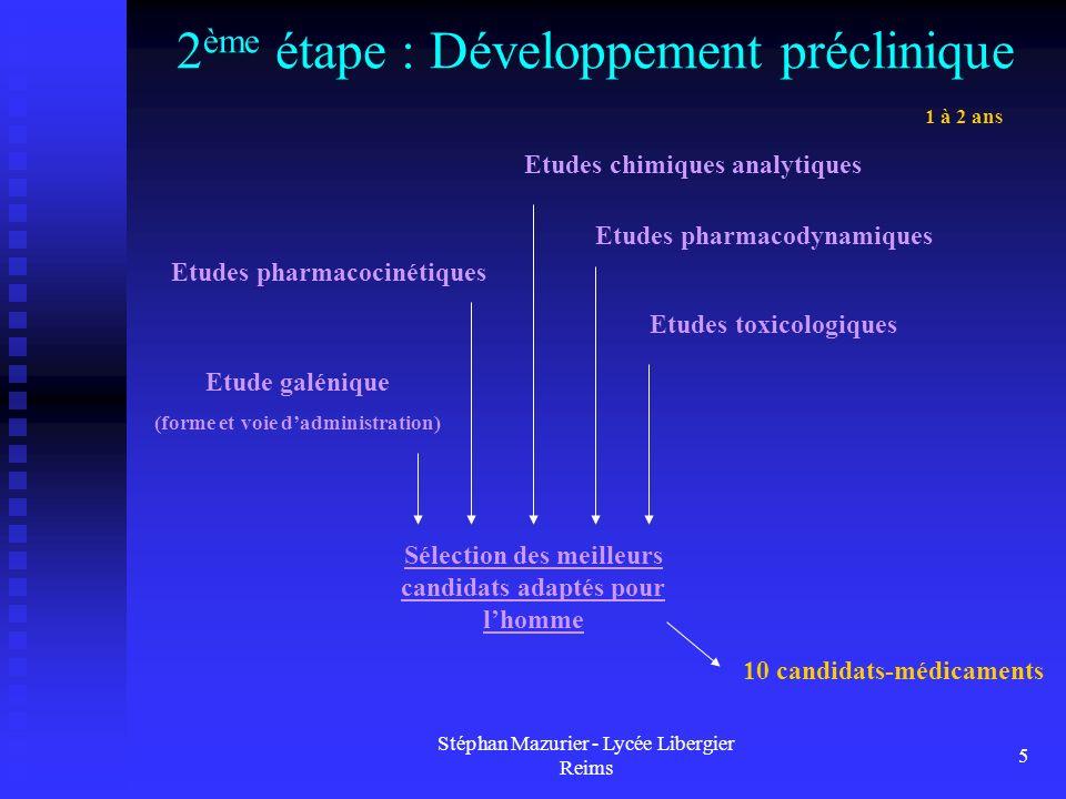 2ème étape : Développement préclinique