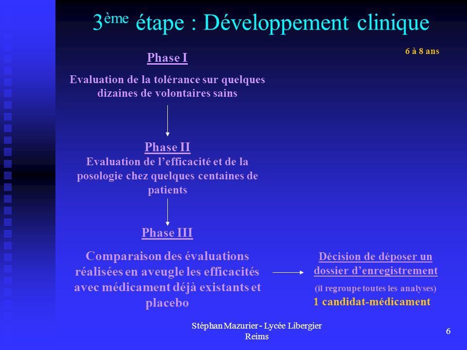 3ème étape : Développement clinique