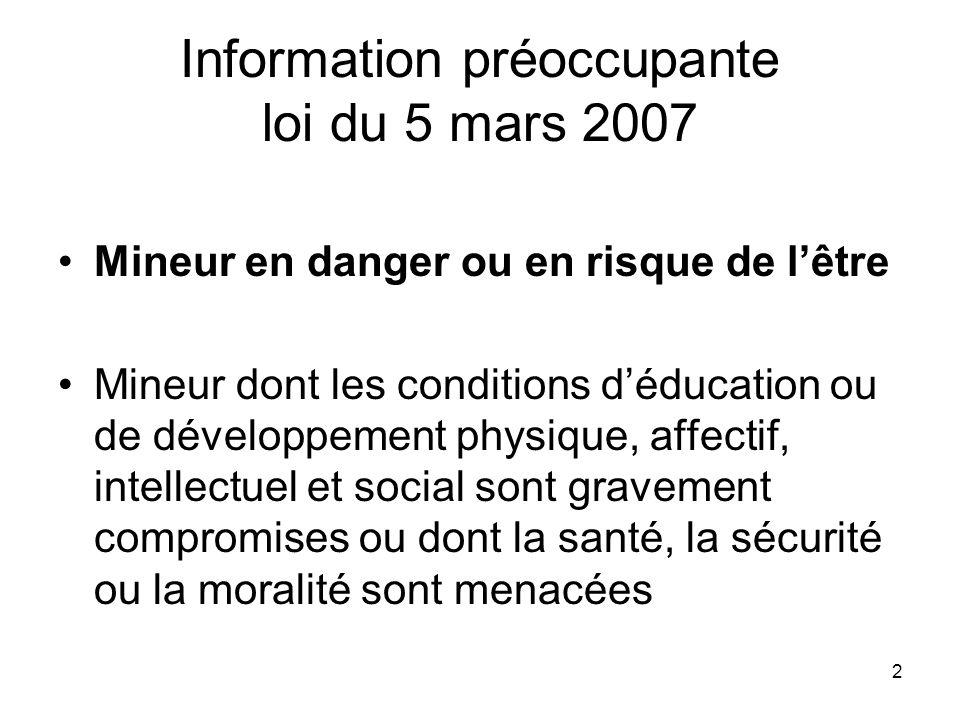 Information préoccupante loi du 5 mars 2007