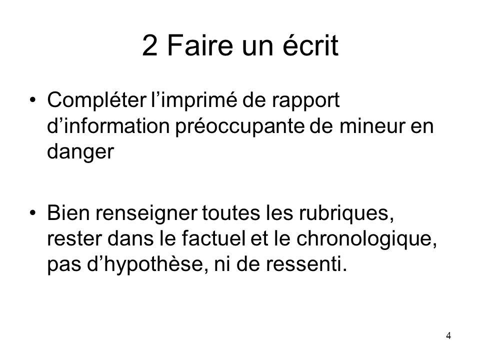 2 Faire un écrit Compléter l'imprimé de rapport d'information préoccupante de mineur en danger.