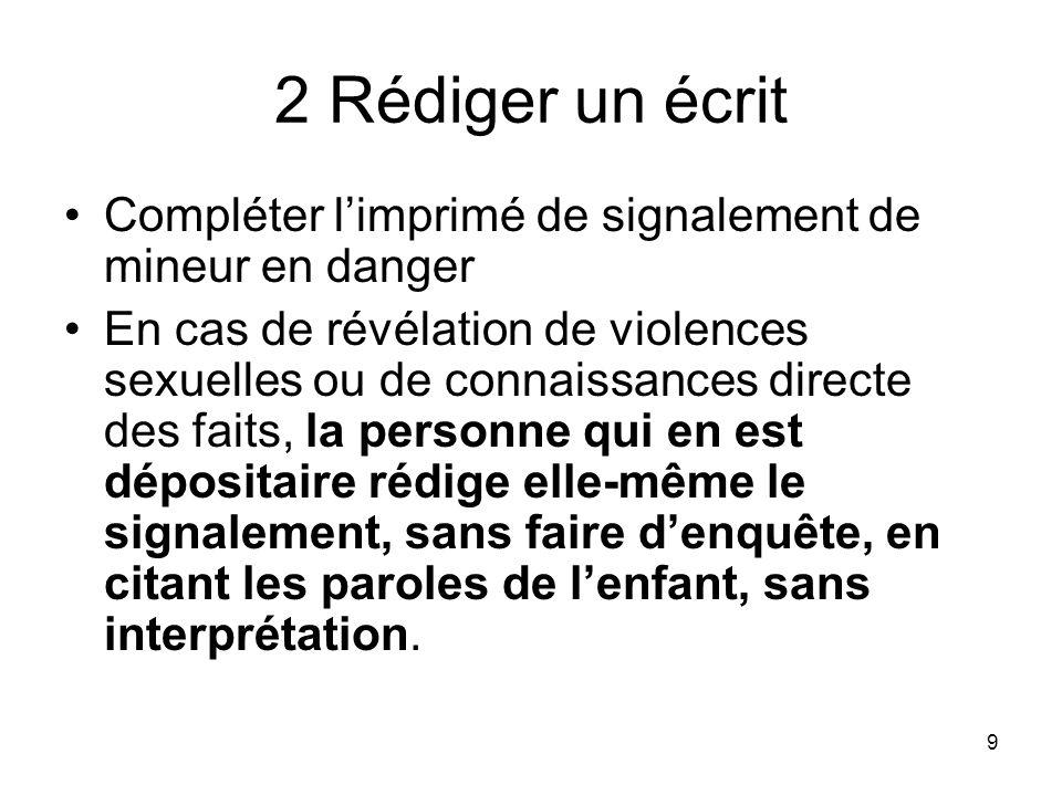 2 Rédiger un écrit Compléter l'imprimé de signalement de mineur en danger.