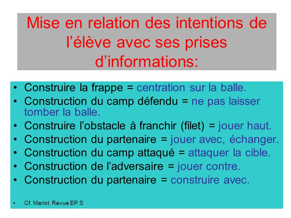 Mise en relation des intentions de l'élève avec ses prises d'informations: