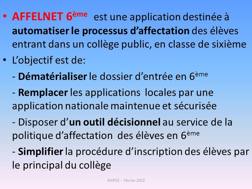 AFFELNET 6ème est une application destinée à automatiser le processus d'affectation des élèves entrant dans un collège public, en classe de sixième