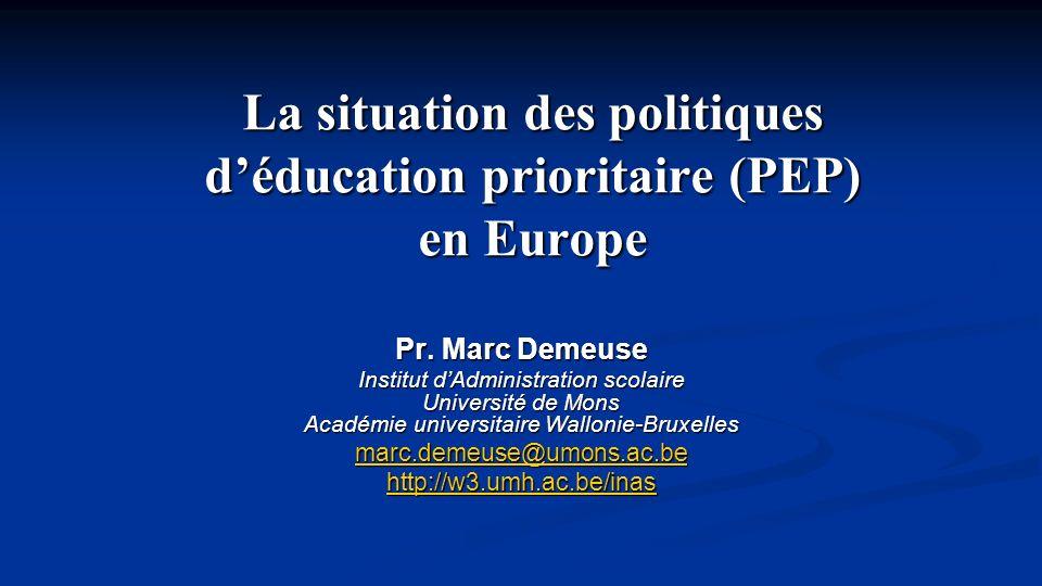 La situation des politiques d'éducation prioritaire (PEP) en Europe