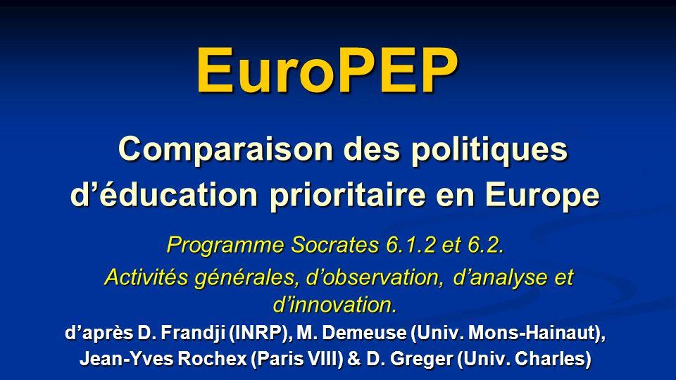 EuroPEP Comparaison des politiques d'éducation prioritaire en Europe