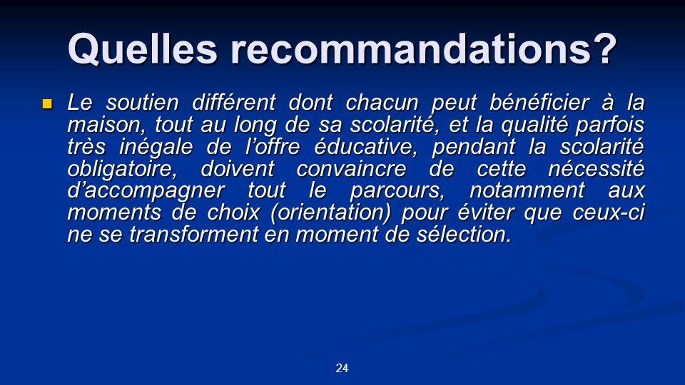 Quelles recommandations