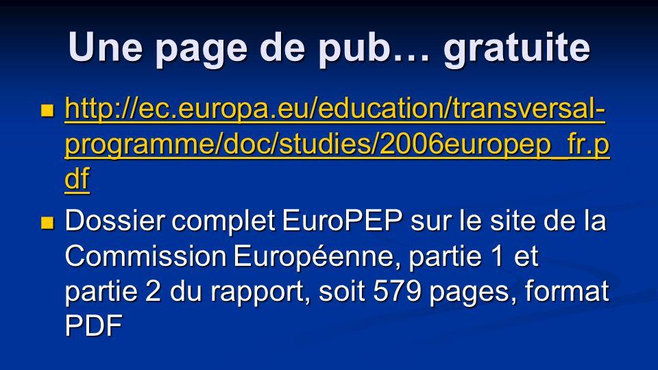 Une page de pub… gratuite