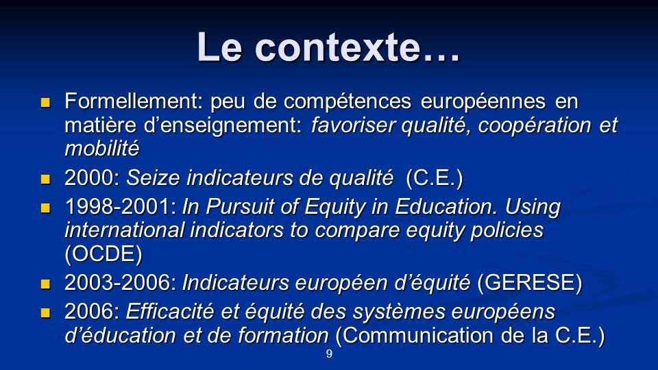 Le contexte… Formellement: peu de compétences européennes en matière d'enseignement: favoriser qualité, coopération et mobilité.