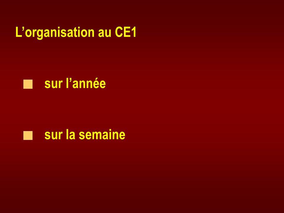 L'organisation au CE1 sur l'année sur la semaine