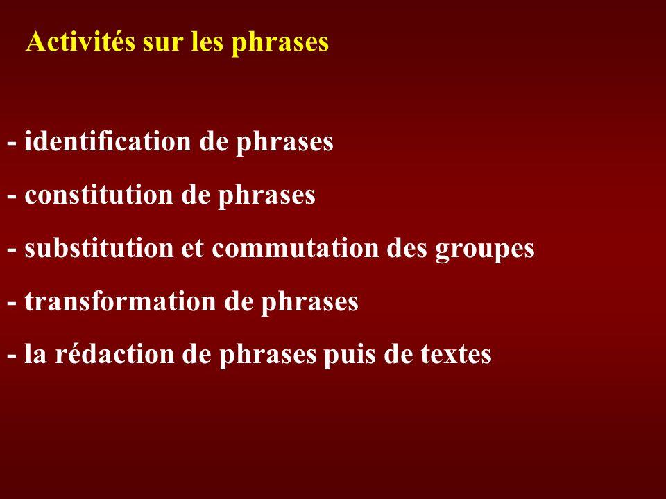Activités sur les phrases