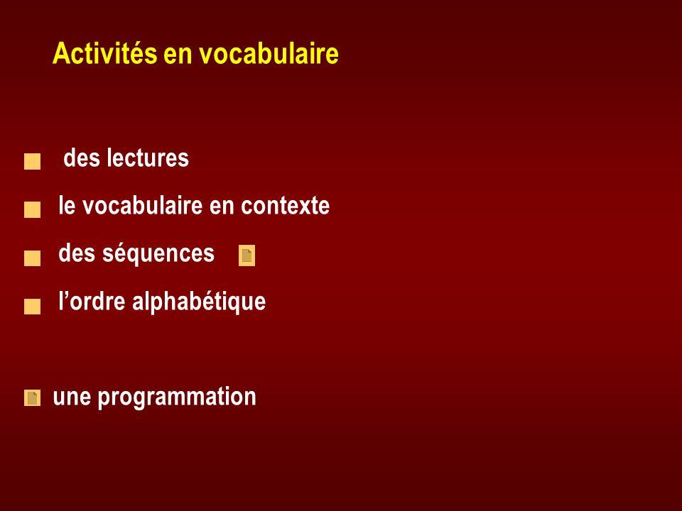Activités en vocabulaire