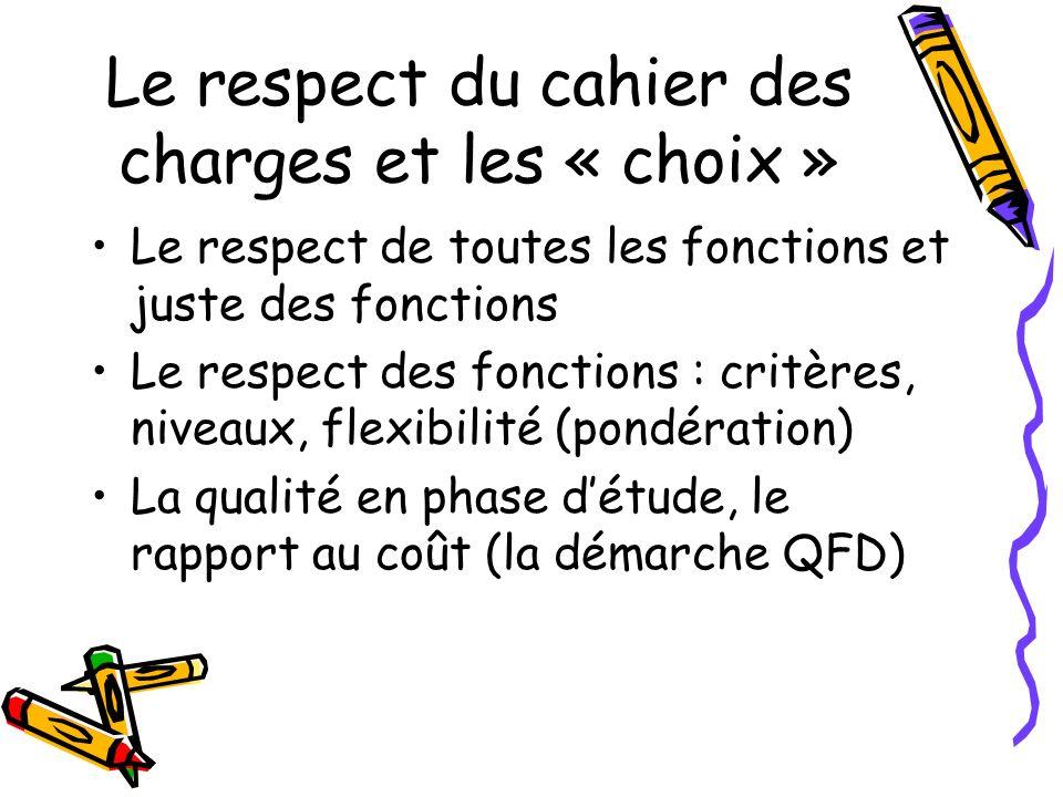 Le respect du cahier des charges et les « choix »