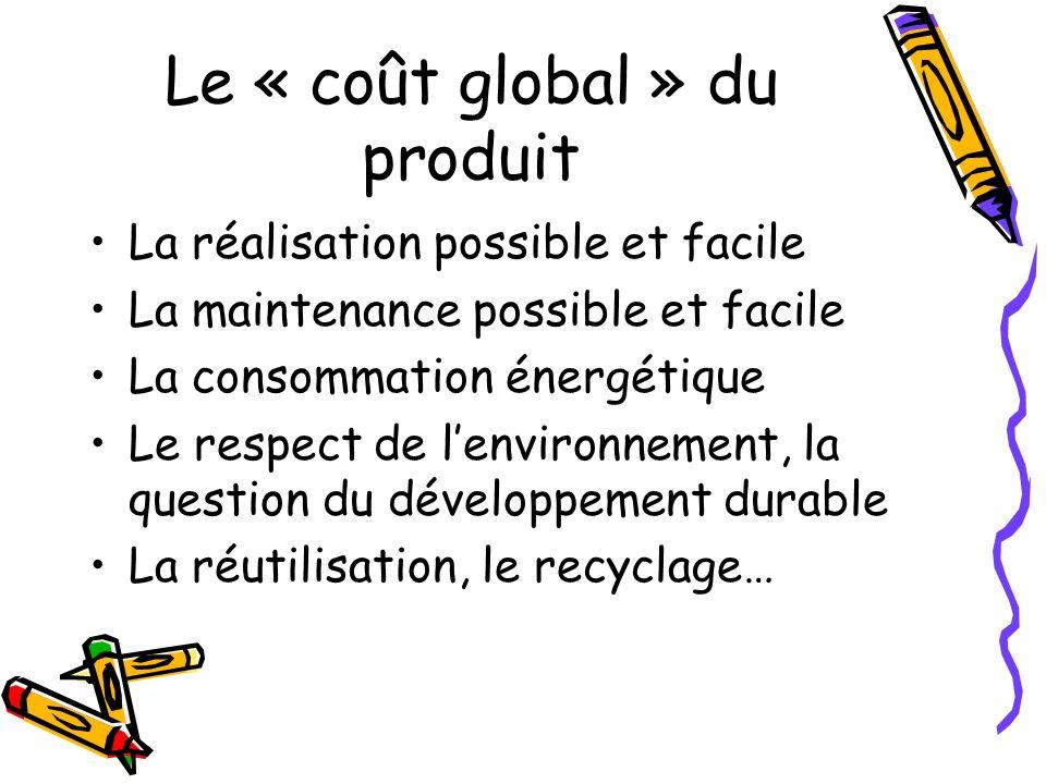 Le « coût global » du produit