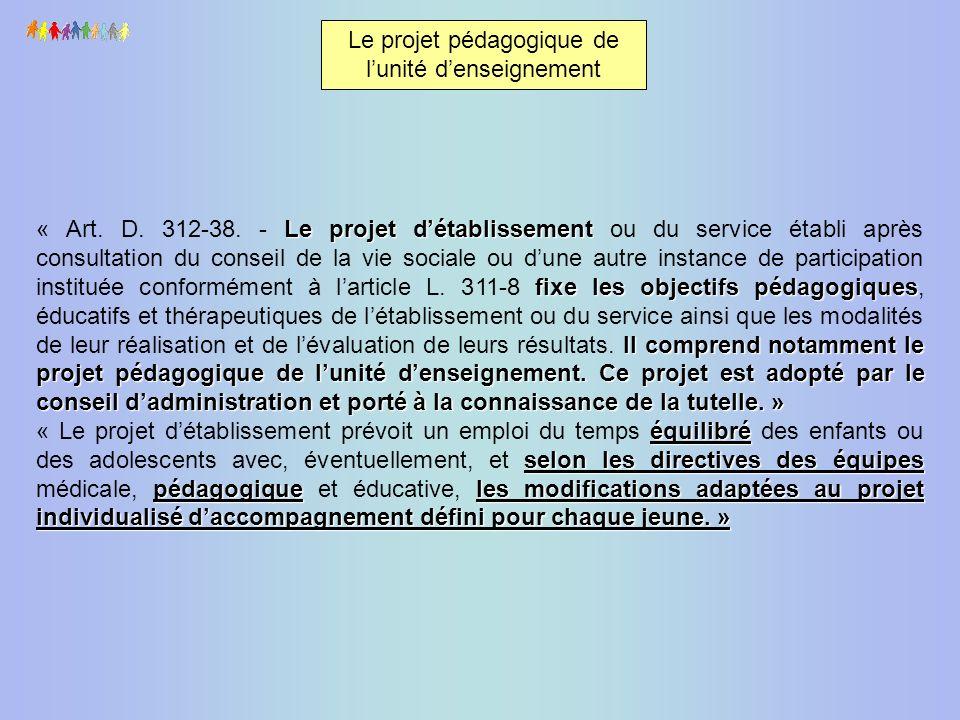 Le projet pédagogique de l'unité d'enseignement