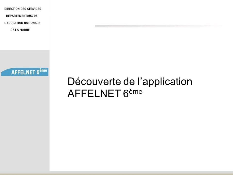 Découverte de l'application AFFELNET 6ème