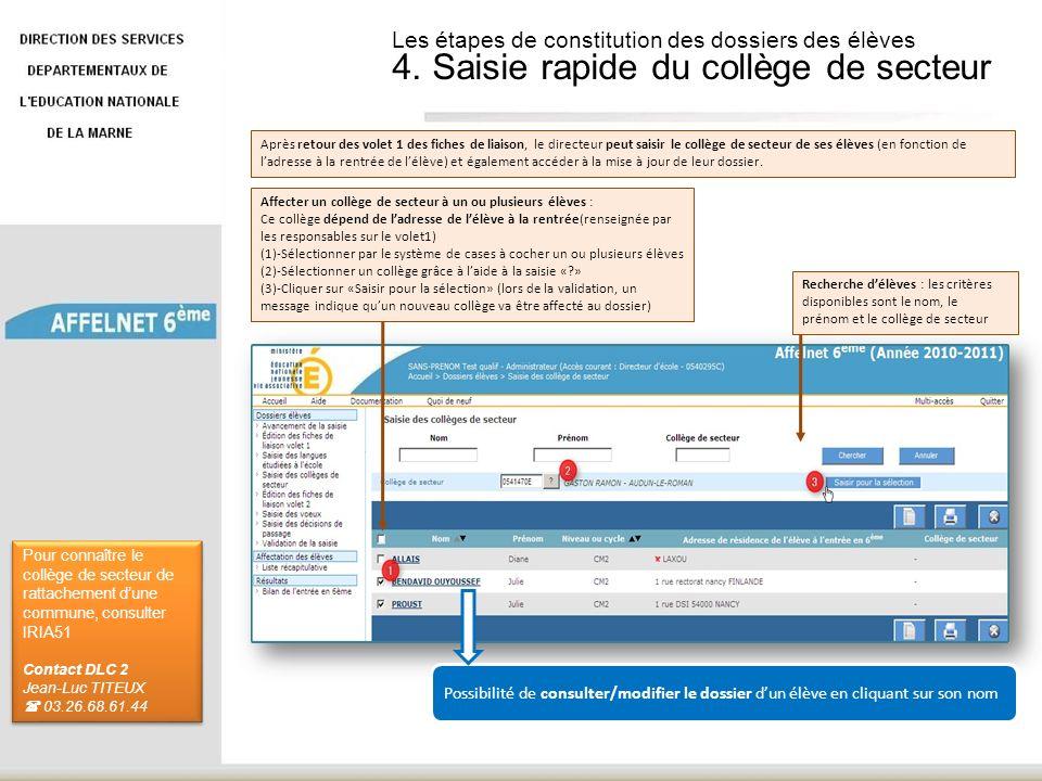 Les étapes de constitution des dossiers des élèves 4