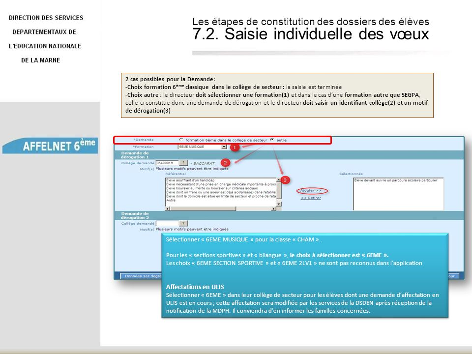 Les étapes de constitution des dossiers des élèves 7. 2