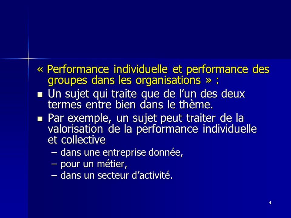 « Performance individuelle et performance des groupes dans les organisations » :