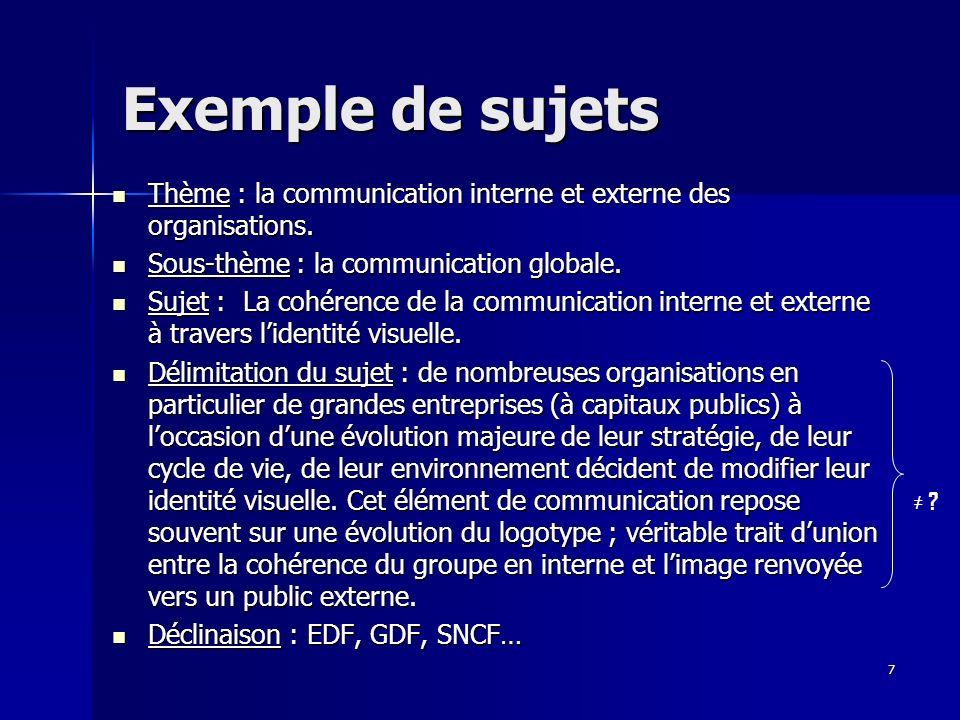 Exemple de sujets Thème : la communication interne et externe des organisations. Sous-thème : la communication globale.