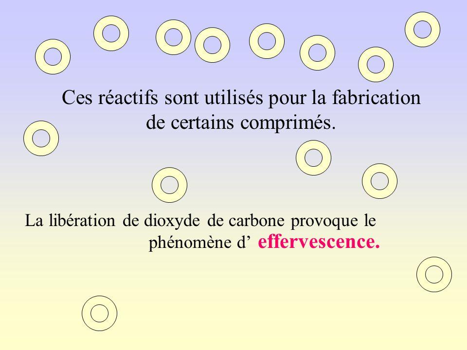 Ces réactifs sont utilisés pour la fabrication de certains comprimés.