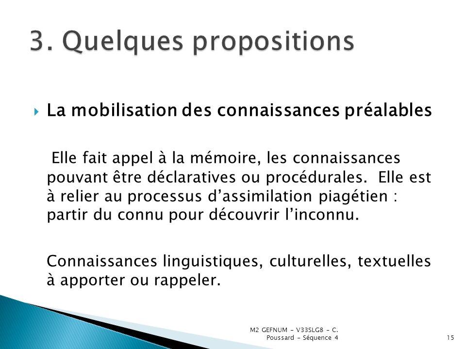 3. Quelques propositions