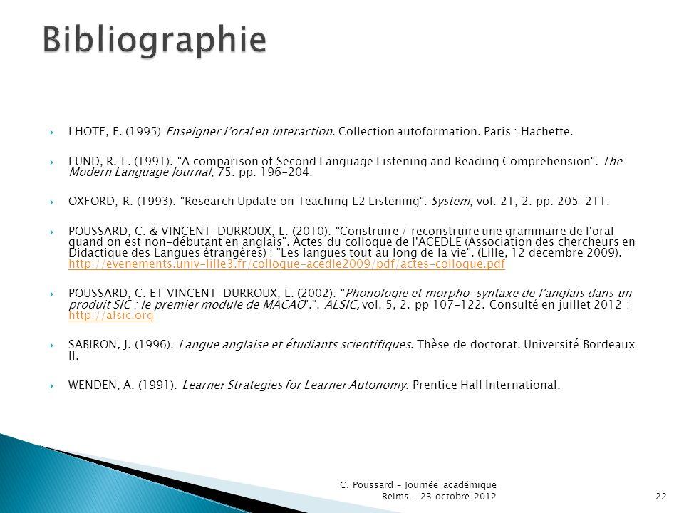 Bibliographie LHOTE, E. (1995) Enseigner l'oral en interaction. Collection autoformation. Paris : Hachette.