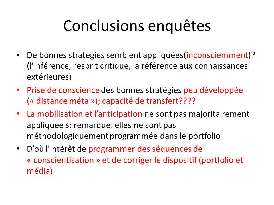 Conclusions enquêtes