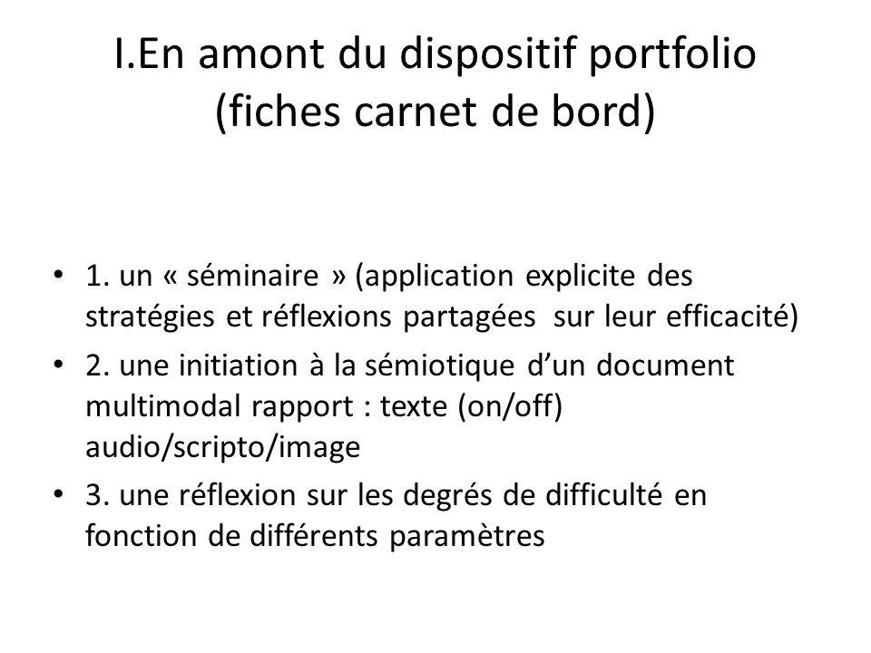 I.En amont du dispositif portfolio (fiches carnet de bord)