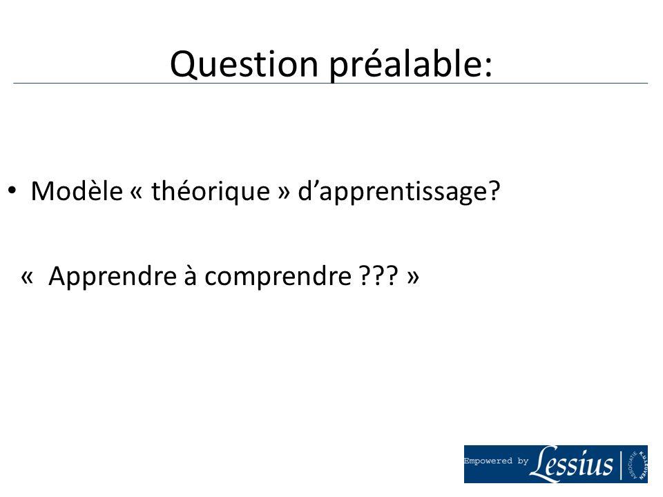 Question préalable: Modèle « théorique » d'apprentissage