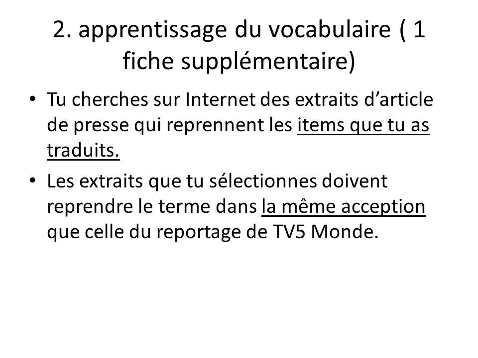 2. apprentissage du vocabulaire ( 1 fiche supplémentaire)
