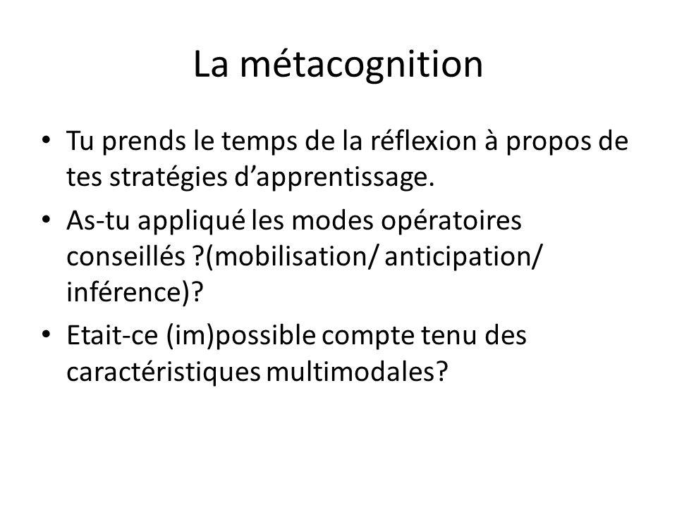 La métacognition Tu prends le temps de la réflexion à propos de tes stratégies d'apprentissage.