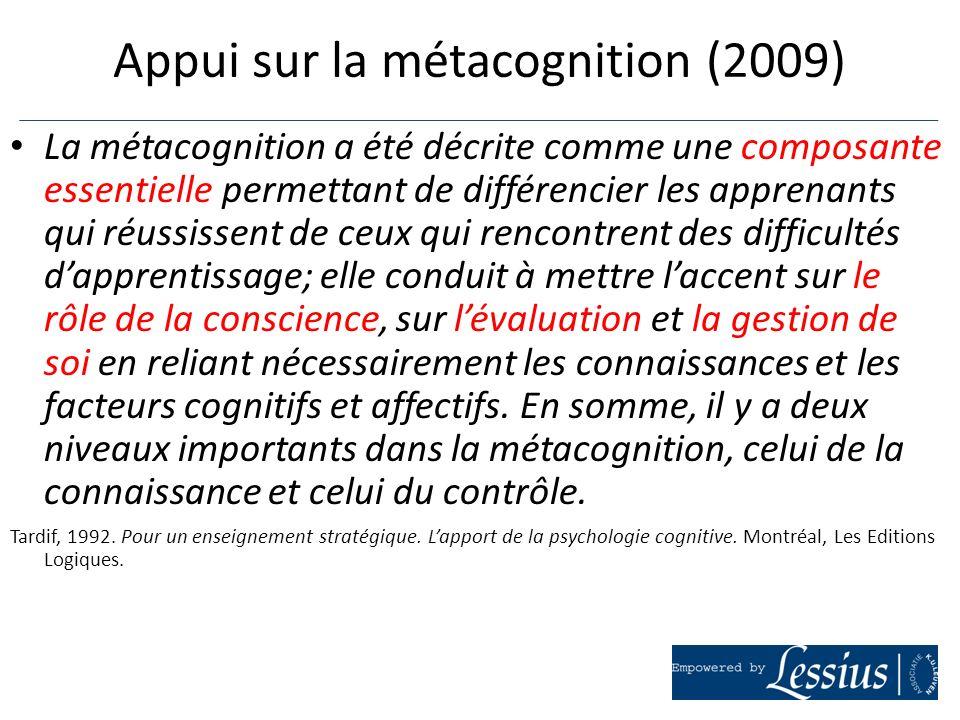 Appui sur la métacognition (2009)