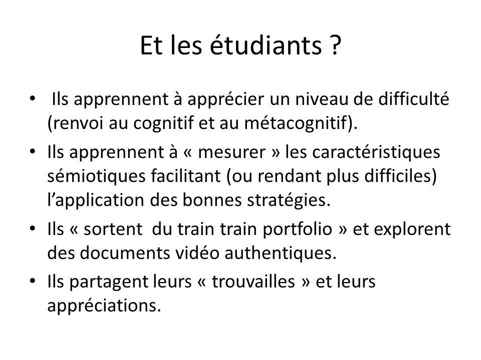 Et les étudiants Ils apprennent à apprécier un niveau de difficulté (renvoi au cognitif et au métacognitif).