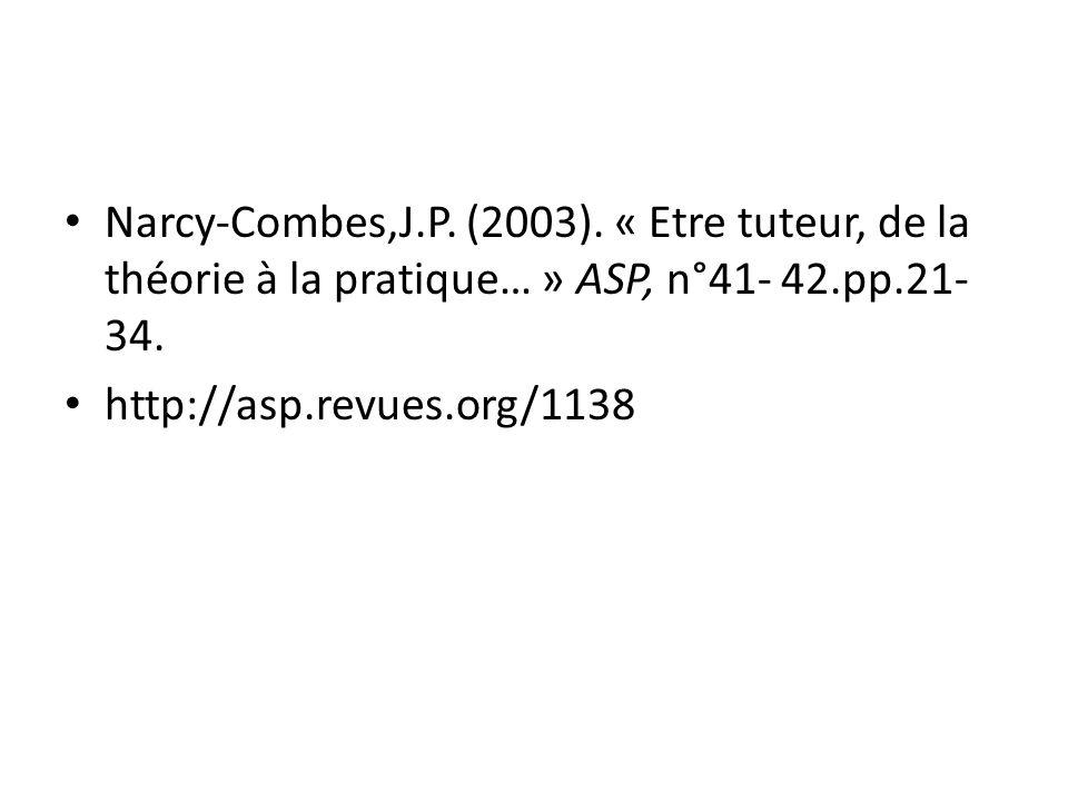 Narcy-Combes,J.P. (2003). « Etre tuteur, de la théorie à la pratique… » ASP, n°41- 42.pp.21-34.