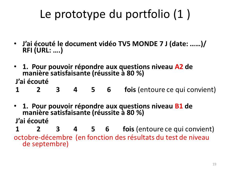Le prototype du portfolio (1 )