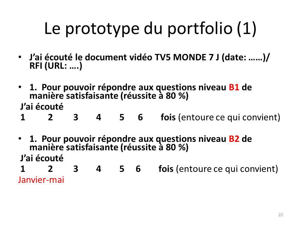 Le prototype du portfolio (1)