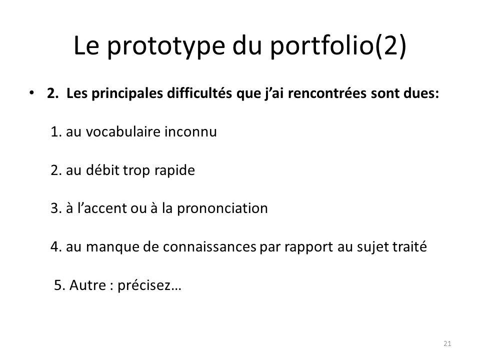 Le prototype du portfolio(2)
