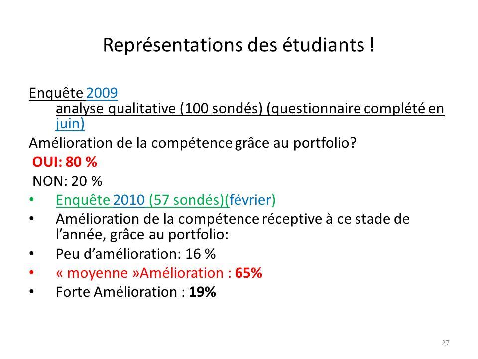 Représentations des étudiants !