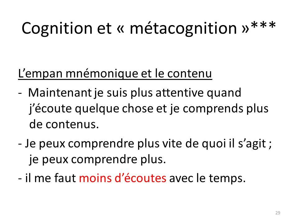 Cognition et « métacognition »***