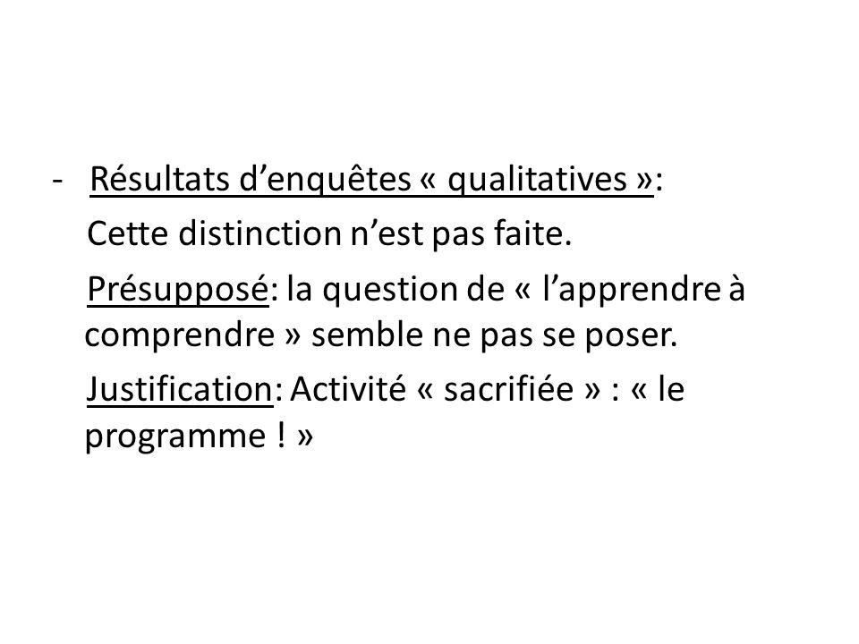 - Résultats d'enquêtes « qualitatives »: Cette distinction n'est pas faite.