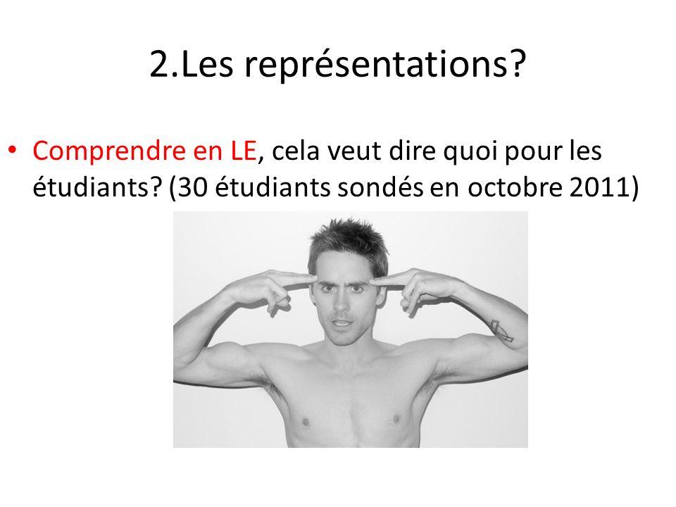 2.Les représentations. Comprendre en LE, cela veut dire quoi pour les étudiants.