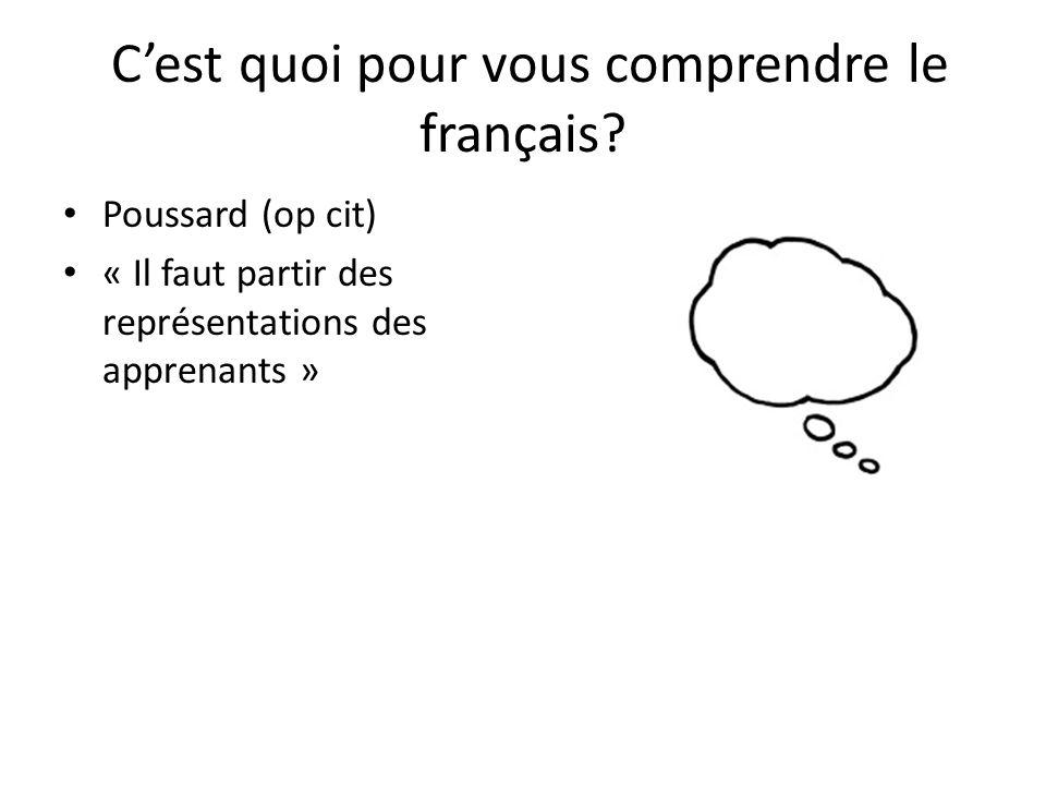 C'est quoi pour vous comprendre le français