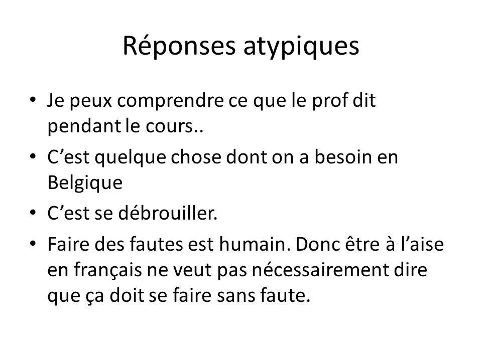 Réponses atypiques Je peux comprendre ce que le prof dit pendant le cours.. C'est quelque chose dont on a besoin en Belgique.