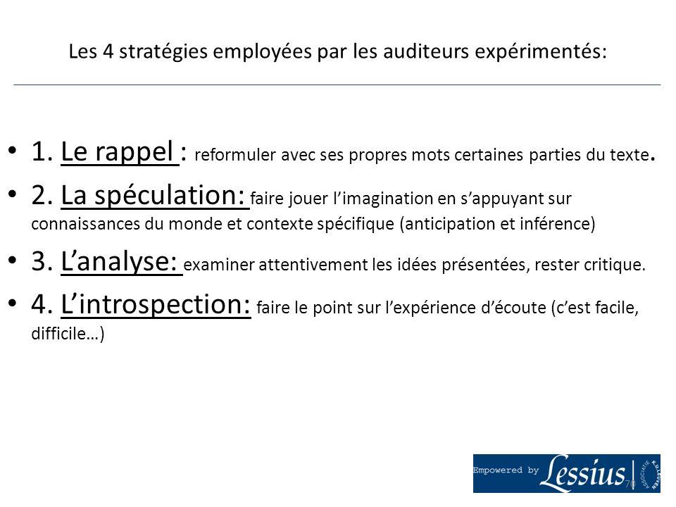 Les 4 stratégies employées par les auditeurs expérimentés: