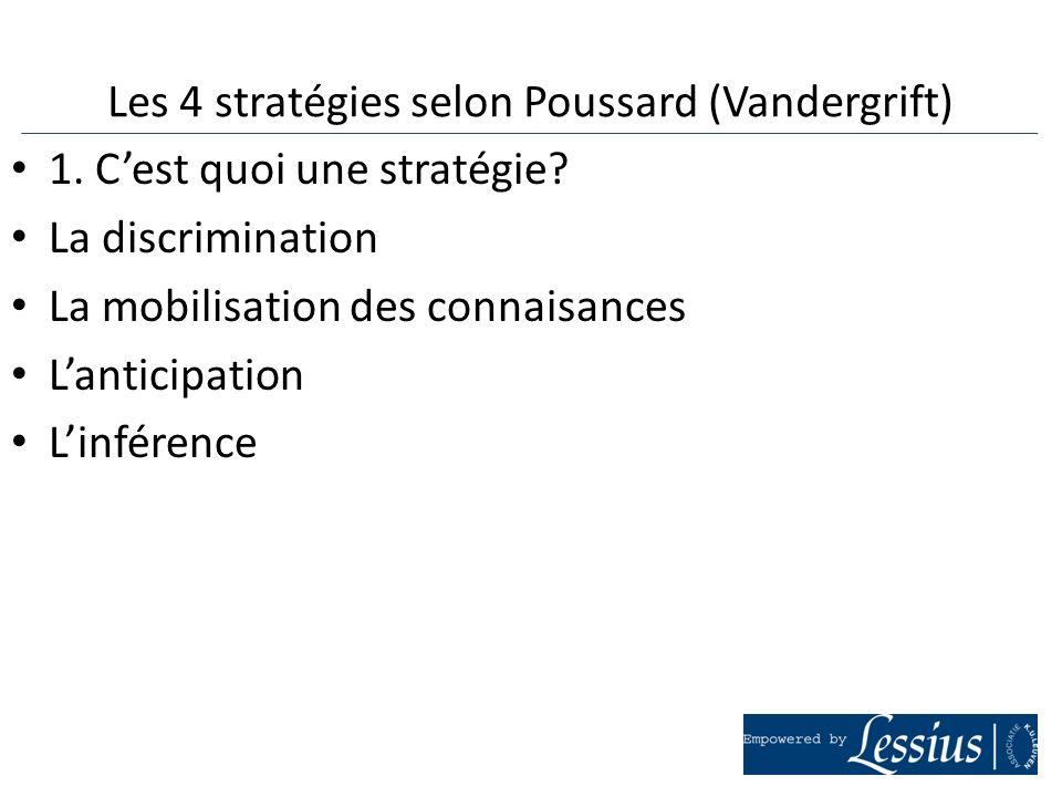 Les 4 stratégies selon Poussard (Vandergrift)
