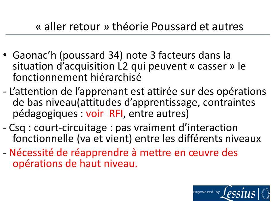 « aller retour » théorie Poussard et autres