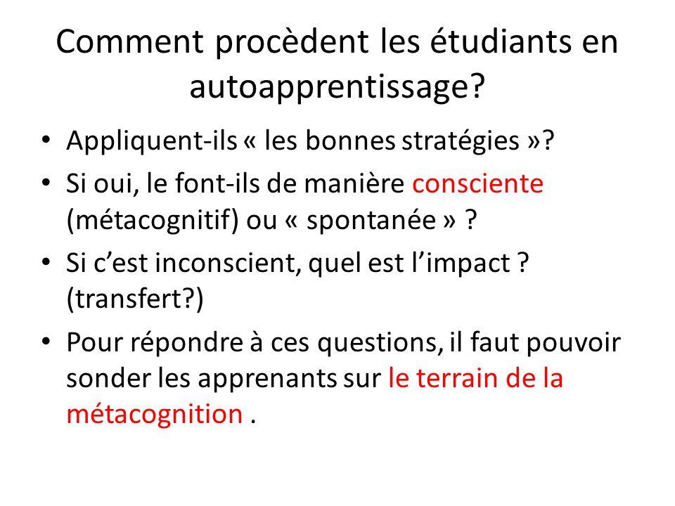 Comment procèdent les étudiants en autoapprentissage