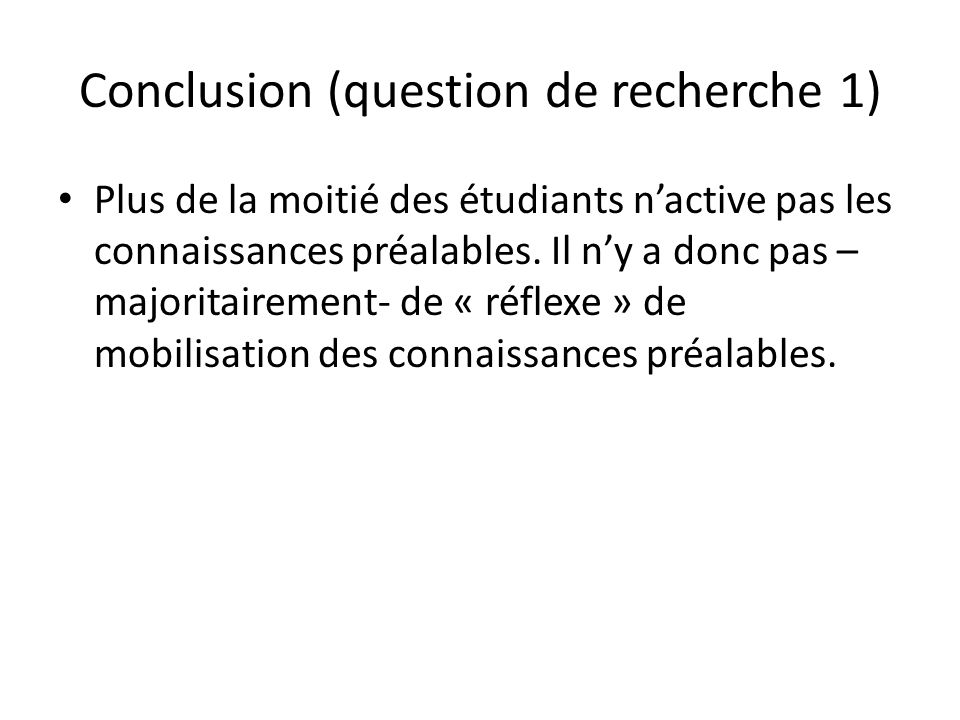 Conclusion (question de recherche 1)